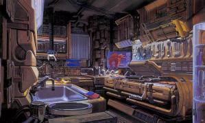 """Syd Mead - """"Deckard's Kitchen"""""""