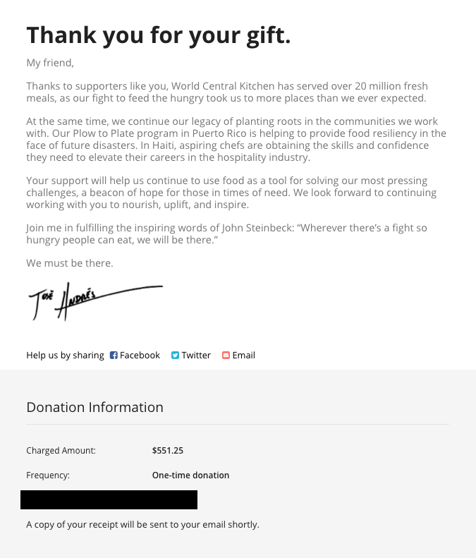 WCK Donation Confirmation