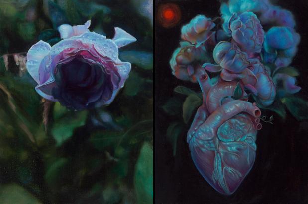 """Kari-Lise Alexander — """"Rose"""" oil on panel, 9""""x12"""" (Left) and """"Bloom"""" oil on panel, 9""""x12"""" (Right)"""