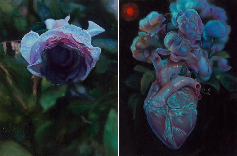 "Kari-Lise Alexander — ""Rose"" oil on panel, 9""x12"" (Left) and ""Bloom"" oil on panel, 9""x12"" (Right)"