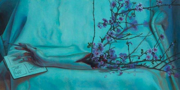 """Kari-Lise Alexander — """"The Artist #2"""" oil on panel, 15""""x30"""""""