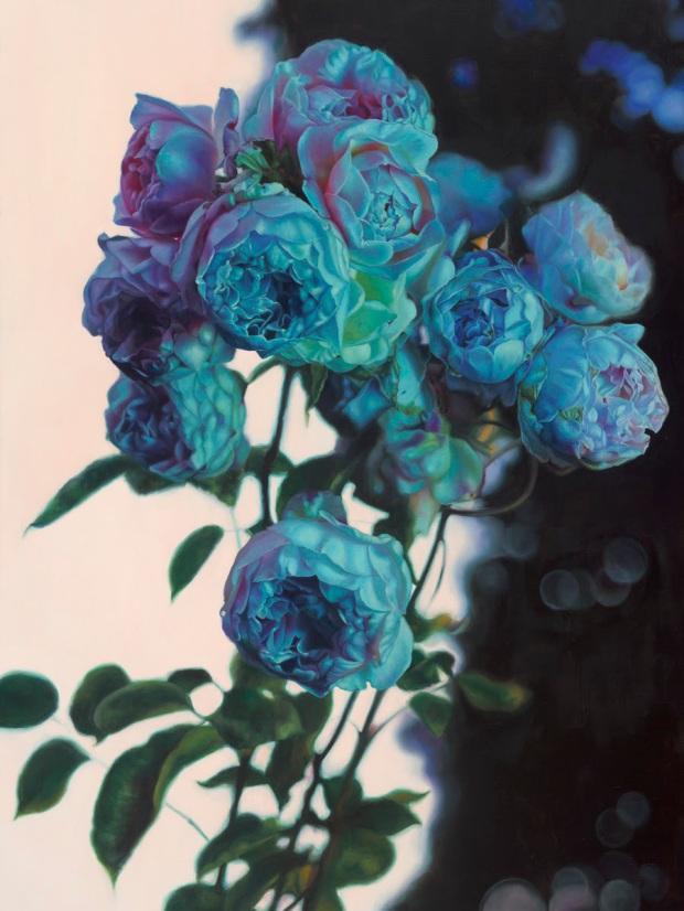 """Kari-Lise Alexander — """"Night Garden"""" oil on linen, 36""""x46"""""""