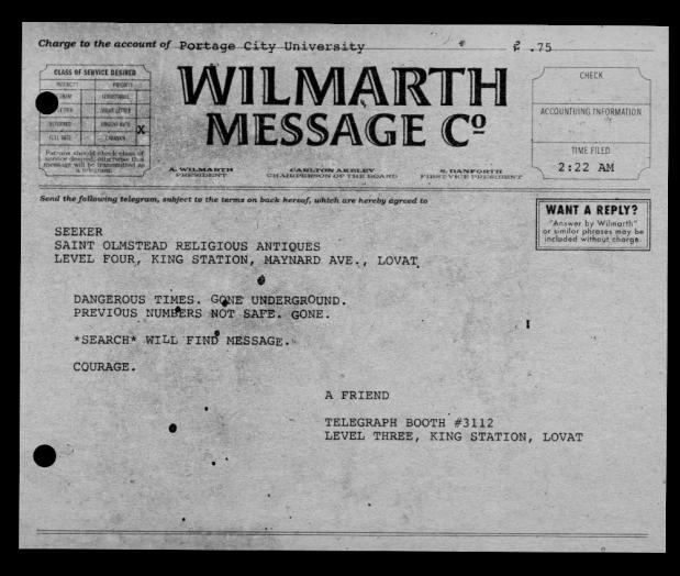 A telegram has arrived